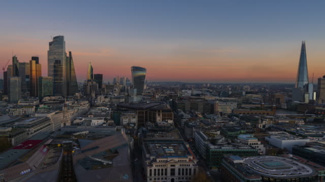 london financial district skyline, day to night - 4k time-lapse (panning) - wide stock videos & royalty-free footage