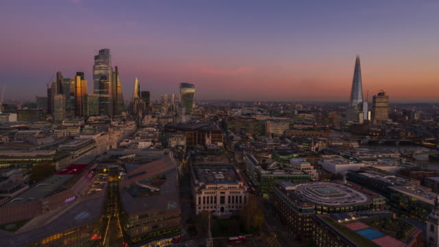london financial district skyline, day to night - 4k time-lapse - city of london stock videos & royalty-free footage