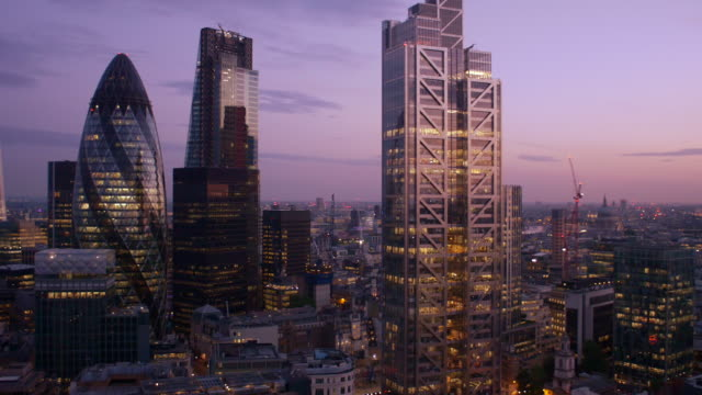 London Financial District.Sunset. 4K