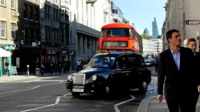 london fleet street and city skyscrapers (4k/uhd to hd) - fleet street stock videos & royalty-free footage