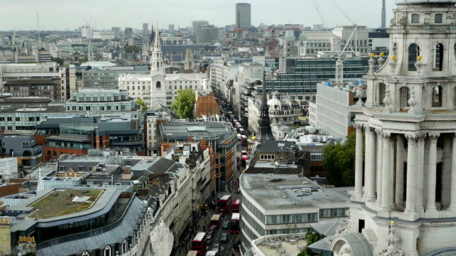 london fleet street high angle view (4k/uhd to hd) - st. paul's cathedral london stock videos and b-roll footage