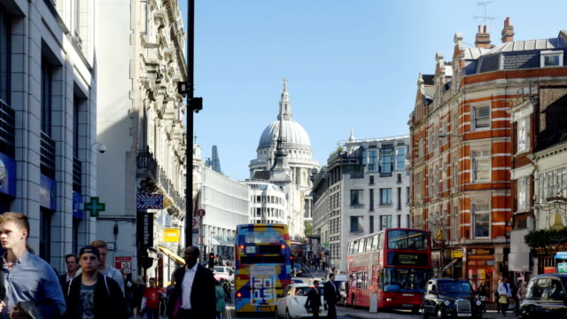london fleet street, ludgate hill and st. paul's cathedral - fleet street stock videos & royalty-free footage