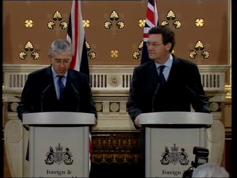 foreign office int jack straw mp at press conference mic and speaking sot i worked hard for release of british detainees in saudi arabia/ we were... - press release stock videos and b-roll footage