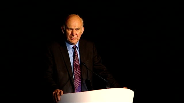 london gateway project press launch; cable along to podium vince cable mp speech sot - vince cable stock videos & royalty-free footage