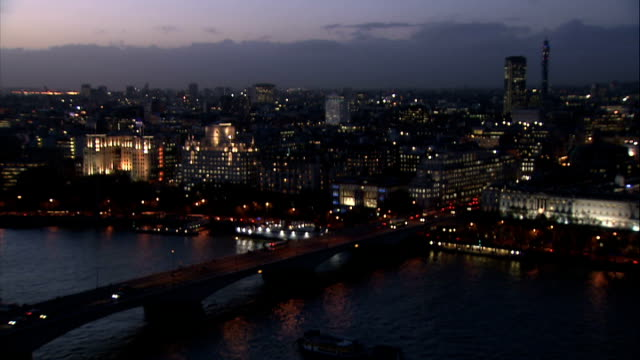 general views from roof of lwt building dusk / night waterloo bridge the embankment and city skyline with bt tower and centrepoint in background as... - bt tower london stock videos & royalty-free footage