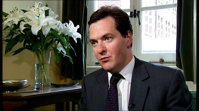 george osborne mp interview sot gordon brown is not facing reality / he is absolutely dishonest / the choice will be between labour cuts and tory cuts - reality fernsehen stock-videos und b-roll-filmmaterial