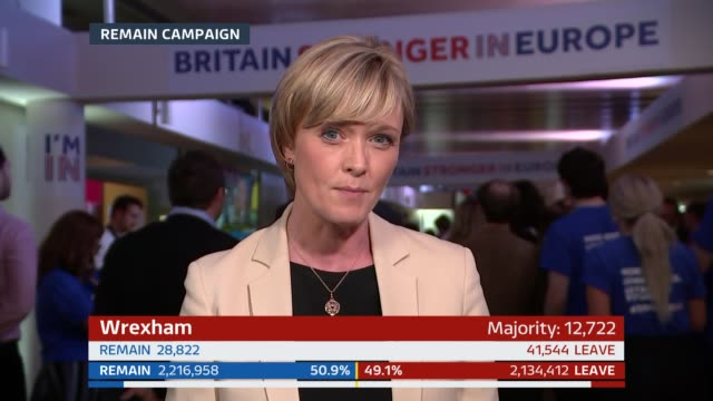 london: gir: colin rallings interview sot/ professor jane green interview at results wall sot/ london: reporter julie etchingham 2 way from remain... - julie etchingham stock videos & royalty-free footage