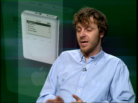 london: gir: gary parkinson interviewed about apple ipod sot cms ipod on black background ipod as screen turning black - mp3 player stock videos & royalty-free footage
