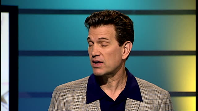 vídeos de stock, filmes e b-roll de london gir int chris isaak live studio interview sot on the story behind his song we let her down / on liking love ballads / on his new album 'mr... - chris isaak