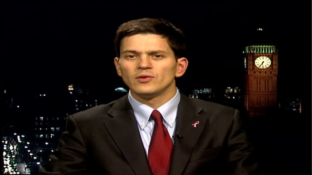 London GIR INT David Miliband MP 2 WAY interview SOT Intentions behind plan by Richmond coucil to tackle greenhouse gases sounds excellent / About...