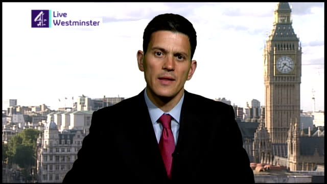 London GIR INT David Miliband MP LIVE 2WAY interview from Westminster SOT Equipment troops now have best equipped ever to quote Brigadier Butler part...