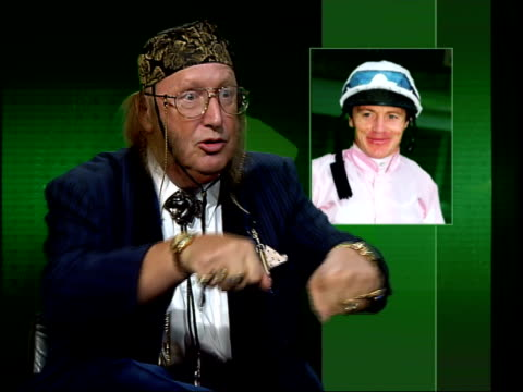stockvideo's en b-roll-footage met gir john mccririck interviewed sot criticises fallon - john mccririck