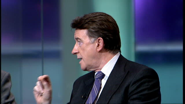 london gir int lord mandelson and ken clarke mp studio discussion / interview sot discuss gdp figure of 01 per cent and the strength or otherwise of... - newly industrialized country stock videos and b-roll footage