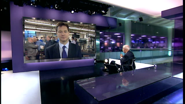 London GIR INT Nick Clegg MP 2WAY interview from Oldham SOT [on Vince Cable] It was completely wrong totally wrong what he did / he feels very...