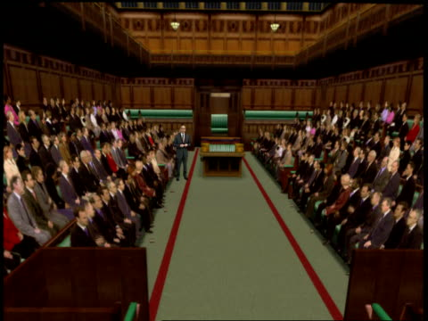 london: gir: int studio jonathan dimbleby studio alastair stewart introduces vrg virtual reality graphic house of commons chamber / swingometer... - gerald scarfe stock videos & royalty-free footage