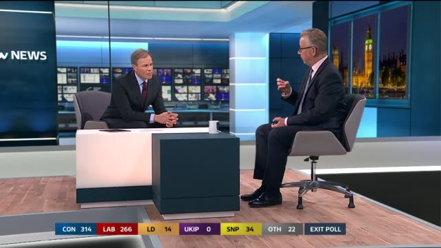 special 2155 2300 london gir int studio michael gove interview on being cautious with the exit poll the future of may and the prospects for brexit... - general election stock videos & royalty-free footage