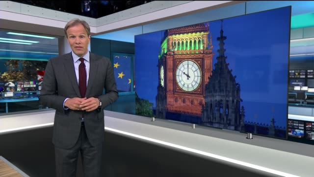 london: gir: int studio tom bradby introduction sot cutaway westminster: ext at night big ben striking 10 o'clock sot - referendum stock videos & royalty-free footage