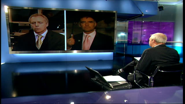 London GIR INT Tommy Sheridan MSP 2 WAY interview from Scotland and Bob Bird 2WAY interview from London SOT [Sheridan says] News of the World...