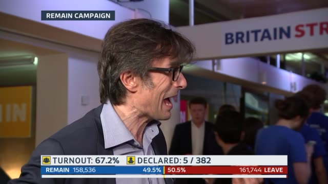 london: gir: studio rallings studio tom bradby london: julie etchingham to camera at the remain party sot robert peston sot remain campaigners... - referendum stock videos & royalty-free footage