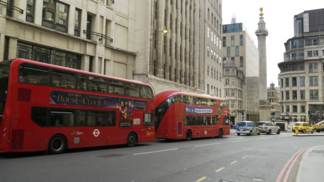 london gracechurch street and the monument - double decker bus stock videos & royalty-free footage