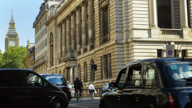 london great george street and big ben (uhd) - taxi stock videos & royalty-free footage