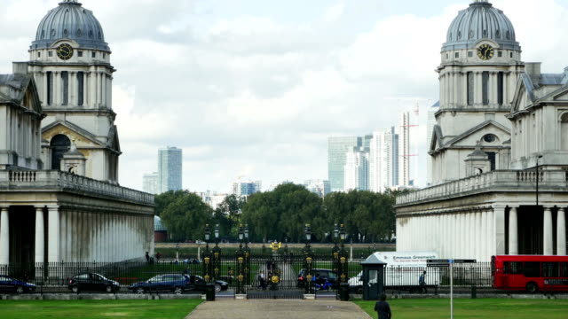 london greenwich and docklands skyline - royal navy college greenwich stock videos & royalty-free footage