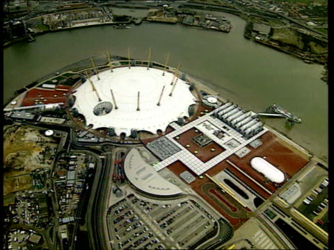 london: greenwich: millennium dome: ext air view millennium dome lib int gvs visitors in dome school children along in dome during visit - the o2 england stock videos & royalty-free footage