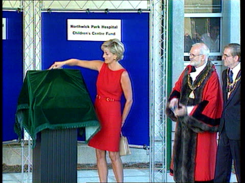 london: harrow: northwick park hospital: **cathy jacobs voiceover overlaid** princess diana unveiling plaque to commemorate opening of children's a &... - harrow stock videos & royalty-free footage