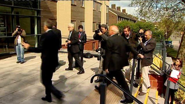 tony blair arriving at health centre int blair taking off jacket to have blood pressure checked and blair having blood pressure checked ends - harrow stock videos & royalty-free footage