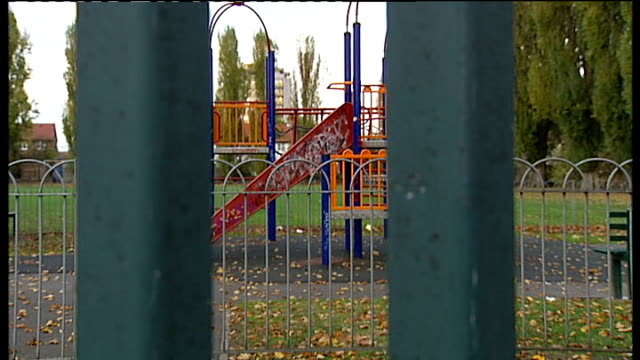 London Hayes College Park EXT Gates at entrance to College Park Adventure playground Forensic officer away thru gap in fencing Fencing around...