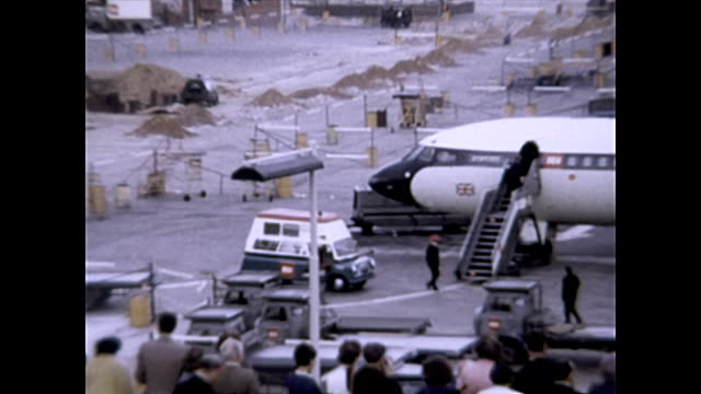 london heathrow airport 1965 with trident 1-c fleet archival - 1965 stock videos & royalty-free footage