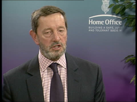 london home office int david blunkett mp interview sot we're going to launch a revised updated programme in agreement with police/ if we need powers... - persuasion stock videos and b-roll footage