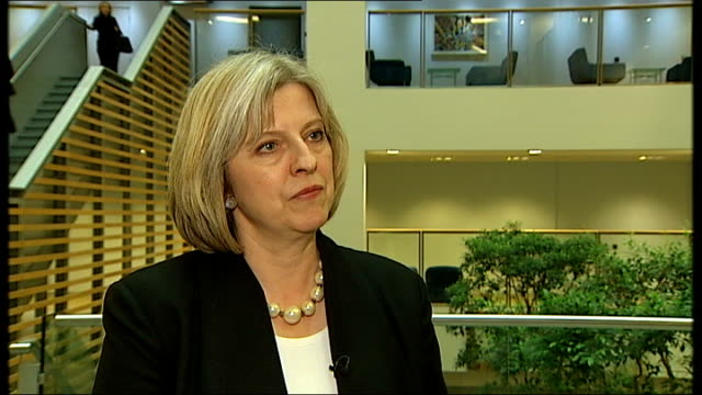 london home office int theresa may mp interview sot [on the proposed annual cap on immigration] we were clear during the election campaign there was... - theresa may stock-videos und b-roll-filmmaterial