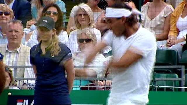 London Hurlingham Club EXT Rafael Nadal playing exhibition match on grass court Rafael Nadal press conference SOT didn't feel close to my best