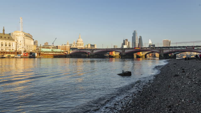 london hyperlapse timelapse, hyper lapse time lapse of the city in central london showing with st pauls cathedral behind the river thames in england, uk - jetty stock videos & royalty-free footage