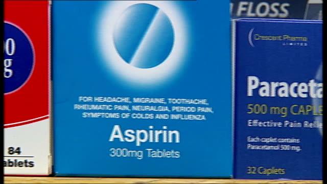 ibuprofen painkiller tablets on chemist shelf boxes of paracetamol tablets close shot box of aspirin tablets pan boxes of painkiller drugs on shelf... - paracetamol stock videos and b-roll footage