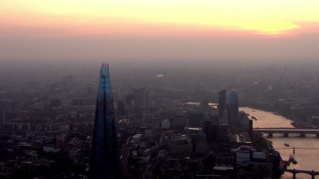 london in twilight aerials - sunset stock videos & royalty-free footage
