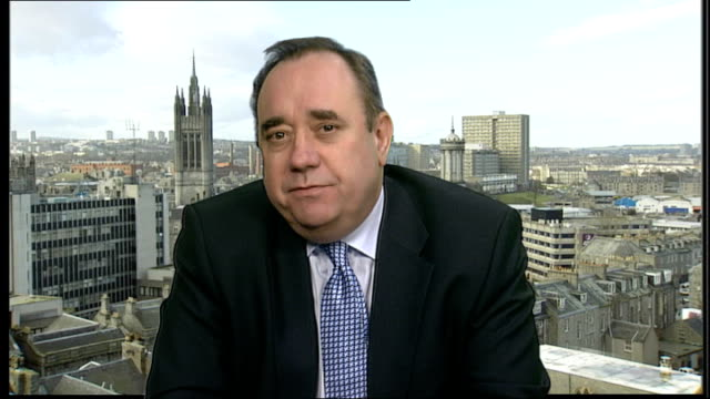 london int alex salmond msp 2way interview from edinburgh sot that poll showed us seven points ahead in the scottish parliament ratings that's three... - scottish national party stock videos & royalty-free footage