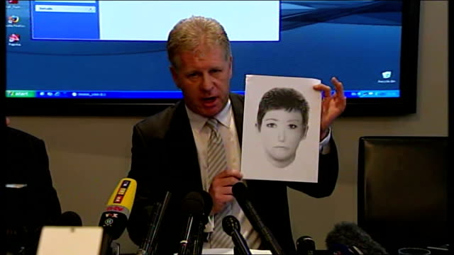 clarence mitchell speaking at press conference and holding up photo-fit of woman wanted by police for questioning in connection with disappearance of... - disappearance of madeleine mccann stock videos & royalty-free footage