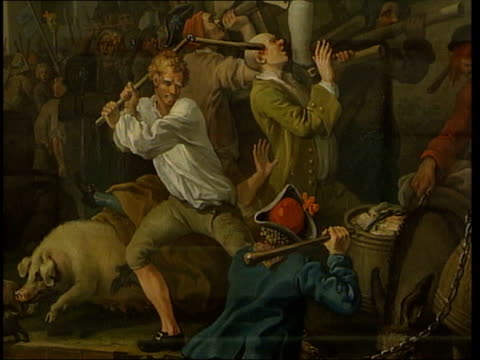 london cmss paintings by william hogarth depicting chaotic scenes at 18th century election - 表す点の映像素材/bロール