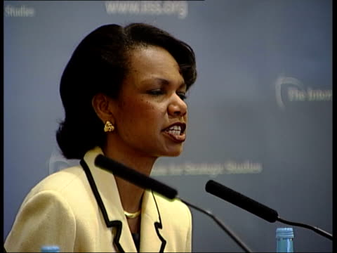 london int condoleeza rice speech sot obviously the middle east that president envisions two state solution is one in which two democrati stable... - side by side stock videos & royalty-free footage
