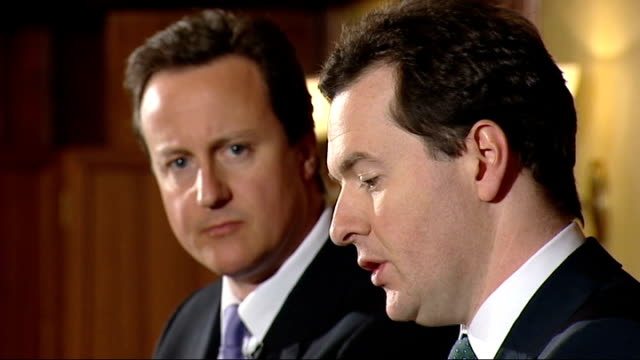 london int david cameron mp and george osborne mp at press conference - george osborne stock videos & royalty-free footage