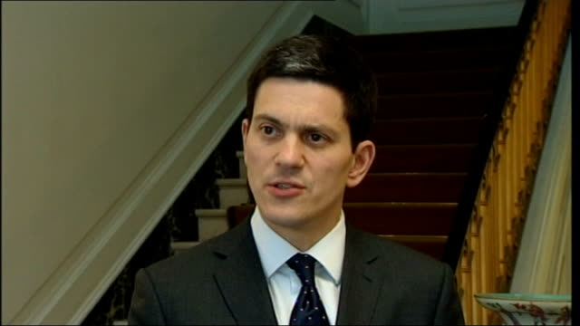 london int david miliband mp interview sot vital that relations between states are conducted on the basis that is clear and transparent / israel in... - david miliband stock videos & royalty-free footage