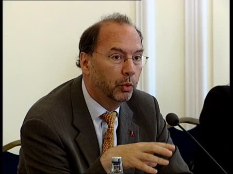 london int doctor peter piot press conference sot the epidemic is entering its globalisation phase/ aids is truly a disease of our globalised world/... - hiv aids conference stock videos & royalty-free footage