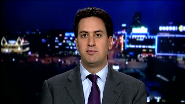 ed miliband mp 2-way interview sot - [on what effect barack obama's comments have had] we need a legally binding treaty, question is is if it can be... - oresund region stock videos & royalty-free footage