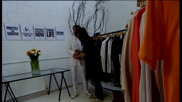 int fashion designer katherine hamnett who has been awarded the cbe in her showroom - katharine hamnett stock videos & royalty-free footage