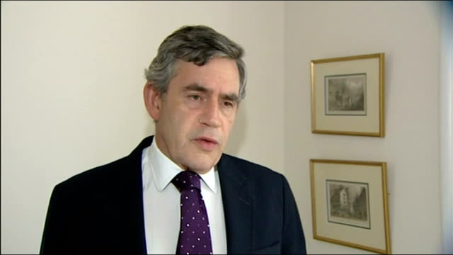 london int gordon brown mp interview sot international pressure has brought ceasefire - ceasefire stock videos and b-roll footage