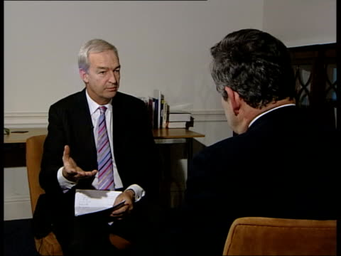 london gordon brown mp interviewed sot we've been making a huge amount of progress in the last few months first of all on debt relief which is... - john w. snow politician stock videos and b-roll footage