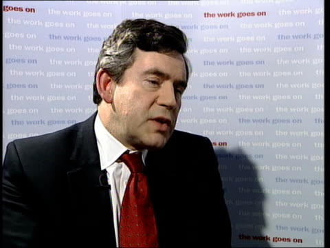 london: int gordon brown mp interviewed sot - we've gone thru period where we've had asian crisis, inflationary problems we had to tackle with... - interest rate stock videos & royalty-free footage