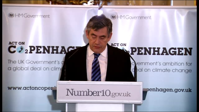 gordon brown mp speech sot - if we act together with vision and resolve, success at copenhagen is still within our reach / but if we falter the earth... - oresund region stock videos & royalty-free footage